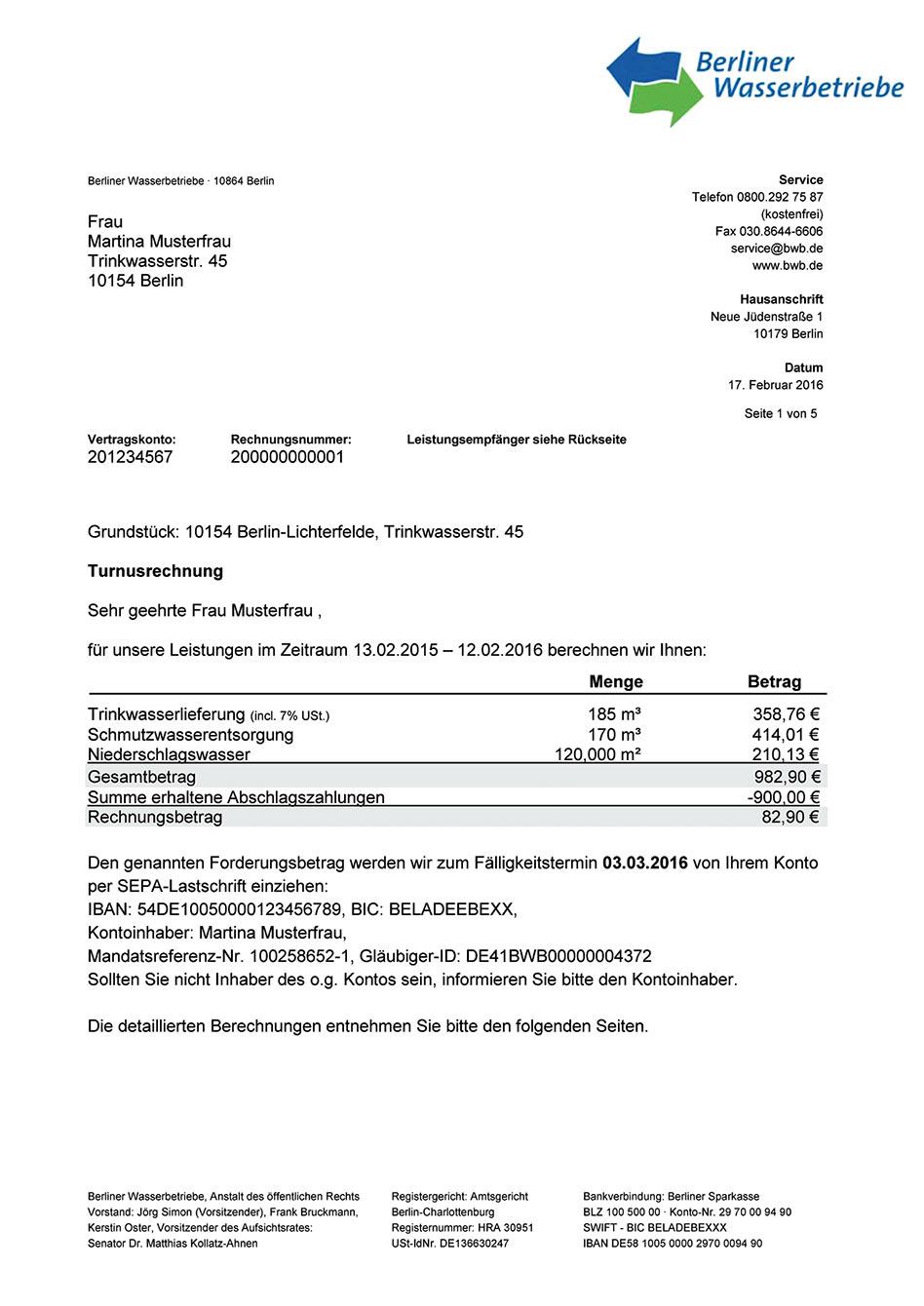 Berliner Wasserbetriebe - Musterrechnung